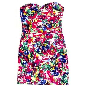 Bright Colorful Strapless Mini Dress